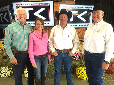 Milton Sundbeck, left, and Joy Reznicek of Town Creek Farm pictured with volume bull buyers, DCJ Ranch of Alabama.